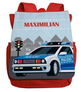 kleiner Kindergartenrucksack für Jungen mit Namen   Motiv Polizei in blau & rot