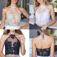 Women's Backless Halter Crop Top Lace Bralette Tank Short Bustier Party Clubwear