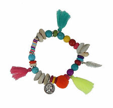 Bracelet Multicolour Ibiza by Ella Jonte Shell Feather Coin Tassel Hippie