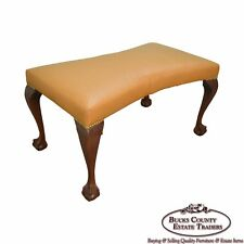 Custom Walnut Chippendale Style Ball & Claw Foot Bench