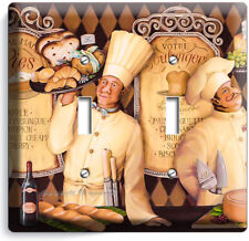 ITALIAN PASTRY CHEFS BREAD BAKERY 2 GANG LIGHT SWITCH WALL PLATES KITCHEN DECOR