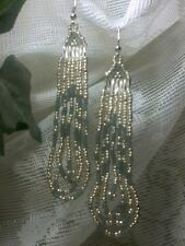 Silver and Dark Gray Dangle Seed Bead Earrings Silver Plated Hooks A32-6