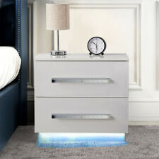 Bedside Table Nightstand Cabinet Chest High Gloss 2 Drawers Front with LED Light