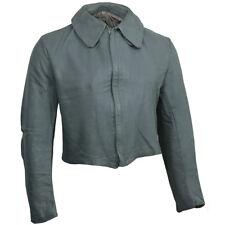 Original German U-Boat Grey Leather Jacket- Surplus Coat Navy Mens Gray Uniform