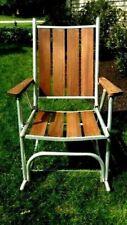 Vintage 1970's Heavy Duty Hi Back Aluminum Redwood Rocking Lawn Chair - Rare!