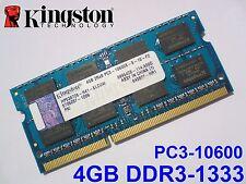 4GB DDR3-1333 PC3-10600 HP536726-H41-ELCUW KINGSTON LAPTOP SODIMM RAM SPEICHER