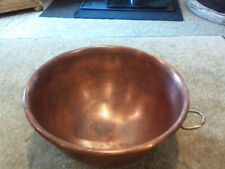 "Vintage 10""  Heavy Solid Copper Egg White Mixing Bowl With Brass Ring 5"" deep"