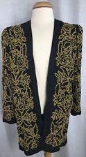 Vintage Diane Freis Original Open Front Cover Jacket Black w/Gold Beads