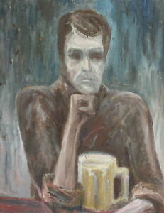 Vintage expressionist portrait oil painting man drinking beer