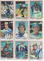 (9) 1978 Milwaukee Brewers signed cards Topps AUTO lot Cooper Bando Money Haas
