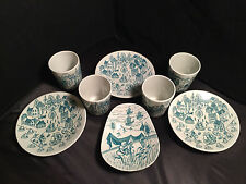 NYMOLLE ART FAIANCE HOYRUP 8 PCS SET LIMITED EDITION DENMARK CUPS PLATES DISH