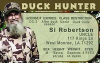 Si Robertson DUCK HUNTER plastic ID card Drivers License second amendment 2nd