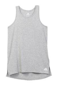 New Adidas Girls Youth JR Long Jump Tank Top Tshirt Grey White SZ XS (7/8)
