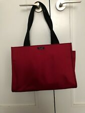 KATE SPADE NEW YORK-RED NYLON W/BLACK STRAPS-LARGE TOTE BAG-EXCELLENT USED COND!