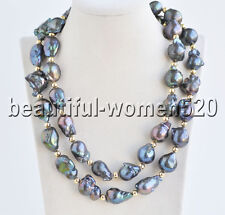 Z8578 20mm Black BAROQUE KESHI REBORN PEARL Bead NECKLACE 40inch