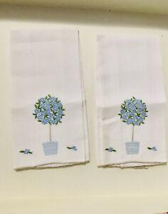 2 VTG MARGHAB MADEIRA LINEN FINGER TIP GUEST TOWELS BLUE & GREEN ROSE TREE NWOT
