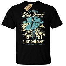 California T-Shirt Mens Blue Beach surf ocean surfing surfer top gift