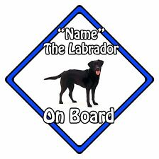 Personalised Dog On Board Car Safety Sign - Labrador On Board Blue