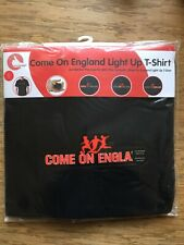 """England T Shirt Light Up """"Come On England"""" Black Small ,Extra Large"""