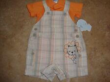 Baby Boys' Clothing Tee and Shortalls Set Orange T-Shirt Squared Short Size 3 M