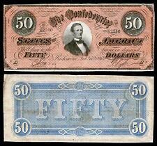 UNC. 1864 $50.00 CONFEDRATE STATE OF AMERICA BANKNOTE COPY! PLEASE READ DESC