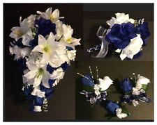 Blue White Lily Wedding Bridal Bouquet Silk Wedding Flower Package 9 Pieces