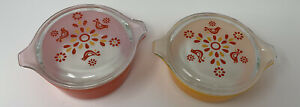 Lot of 2 Pyrex Friendship Small Casseroles W/ Lids 472 and 471 Red Orange