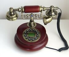 Classical Wooden Home Desk Phone Landline Cord Button Dial Home Decoration Gift