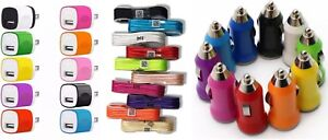 Color Wall Charging Adapter 5FT USB Data Cable Car Charger for Phones Tablet