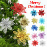10X Christmas Large 10cm Poinsettia Glitter Flower Tree Hanging Party Xmas Decor