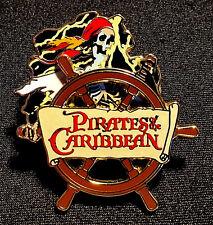 RARE 2005 DISNEY PIRATES OF THE CARIBBEAN PIRATE SKELETON SHIP WHEEL SPINNER PIN