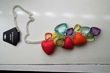 Body Central Long Silver Chain Necklace/ Multi Color Hearts Brand New  Colorful