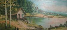 Impressionist oil painting lake landscape