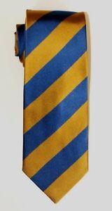Blue Gold College Striped Self Tipped Silk Tie UCLA