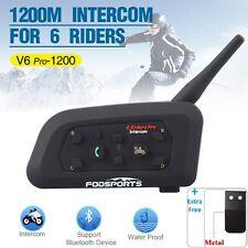 1200M BT Intercom Interphone Bluetooth Motorcycle Helmet headset V6 for 6 Riders