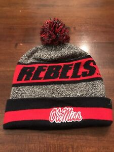 Ole Miss Rebels M Red Blue Gray Beanie Cap/Hat Skull Cap W Tassel