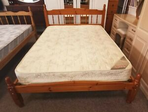 Solid Pine Double Bed, myers primrose mattress