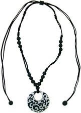 ZSISKA Baroque Donut Adjustable Pendant. Black with Pure Silver Leaf Inlay