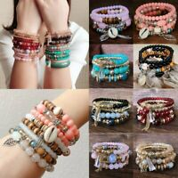 4Pcs Women Boho Crystal Multilayer Natural Shell Bangle Beaded Bracelet Jewelry