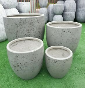 Outdoor Garden Patio Planter Pot Modstone Egg Lightweight Montague Round Steel