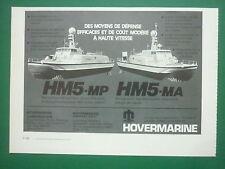6/1977 PUB HOVERMARINE HM5-MP HM5-MA GARDE COTES COAST GUARD ORIGINAL FRENCH AD