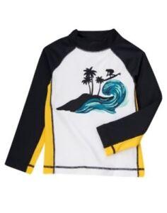 GYMBOREE SWIM SHOP SURFING SCENIC L/S RASHGUARD 3 4 5 6 7 8 12 NWT