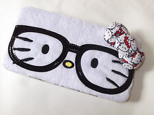 New Women's Girl's Wallet HELLO KITTY Nerd Nerds SANRIO  White Plush