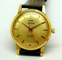 hmt sona hand winding mens gold plated para shock 17 jewel vintage india watch