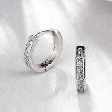18K White Gold Plated Round Crystal Hinged Huggie Hoop Earrings 14mm