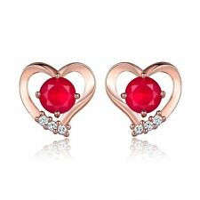 Awesome New 18k Rose Gold Filled Heart Set Red Ruby CZ Stud Earrings w/Accents