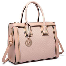 Women Designer Grain Square Nude Handbag PU Leather Tote Shoulder Bag