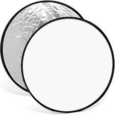110cm 2 en 1 Reflector Difusor Luz Estudio Plegable Fotográfico Plata & Blanco