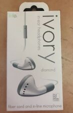 iHip Ivory Diamond In-Ear Headphones Fiber Cord & In-Line Microphone Free Ship W
