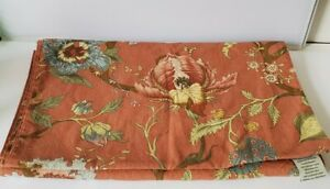 Pottery Barn Rust Palampore Floral Table Runner 18x90 Linen Cotton Fall
